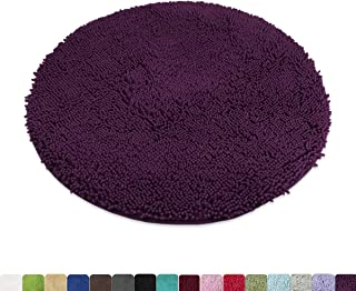 MAYSHINE Absorbent Microfiber Chenille Dog Door Mat, Durable, Quick Drying, Washable, Prevent Mud Dirt (Round 34 Inches, Plum)