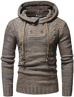 haoricu Autumn Winter Men's Pullover Knitted Sweater Cardigan Coat Long Sleeve Hooded Sweatershirt