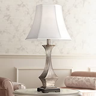 Lydia Modern Table Lamp Silver Leaf Twist White Bell Shade for Living Room Family Bedroom Bedside Nightstand Office - Regency Hill