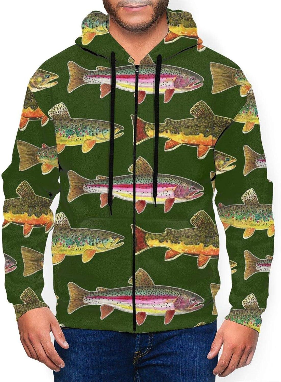 Newwo Brown Trout sale Fishing Mens Full-Zip Sweatshirt Hooded overseas Jacket