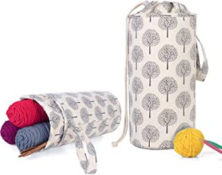 Luxja Yarn Storage Bag, Portable Knitting Bag for Yarn Skeins, Crochet Hooks, Knitting Needles (up to 14 Inches) and Other Small Accessories (Large/Trees)
