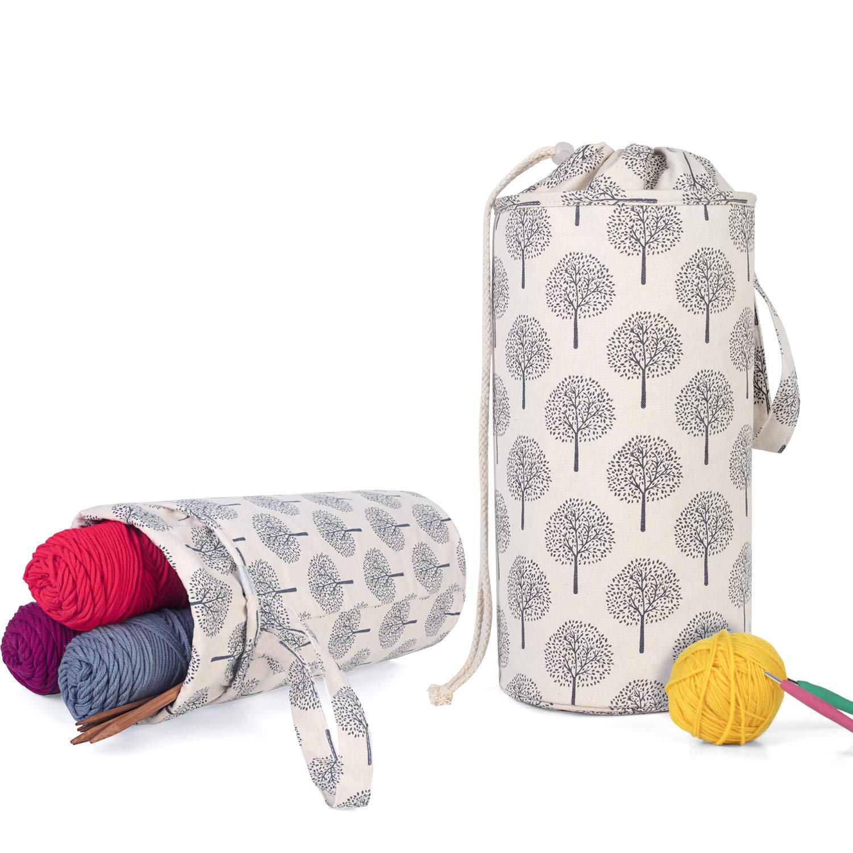 Luxja Organizador Lanas, Bolsa para Tejer, Bolsa Ganchillo Almacenamiento para Agujas de Tejer (hasta 14 Pulgadas) Bolsa para Hacer Puntos y Guardar Accesorios de Crochet: Amazon.es: Hogar