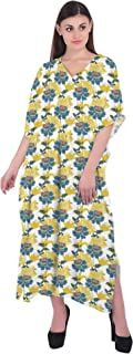 RADANYA Women's Floral Print Kaftan Maxi Dress Summer Beach Dress Cotton Caftan