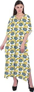 RADANYA Women's Floral Print Kaftan Maxi Dress Summer Beach Dress Cotton Caftan
