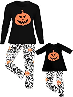 Pigiama Halloween Due Pezzi Pigiama Famiglia Set Top e Pantaloni con Stampa Pipistrello di Zucca