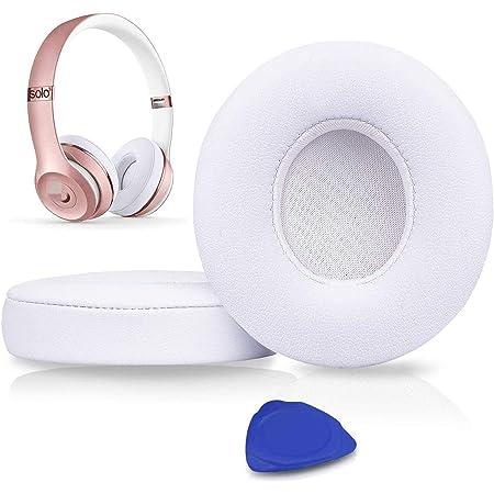 SoloWIT® Almohadillas de Repuesto para Beats Solo 3 & Solo 2 Wireless Auriculares supraaurales, con Cuero de proteína Suave/Espuma de Memoria de Aislamiento de Ruido