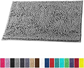LuxUrux Bathroom Rug Mat -Extra-Soft Plush Bath Shower Bathroom Rug,1'' Chenille Microfiber Material, Thickening Shaggy Tub Mat Carpet, Super Absorbent. Machine Wash & Dry(16'' X 24'', Light Grey)