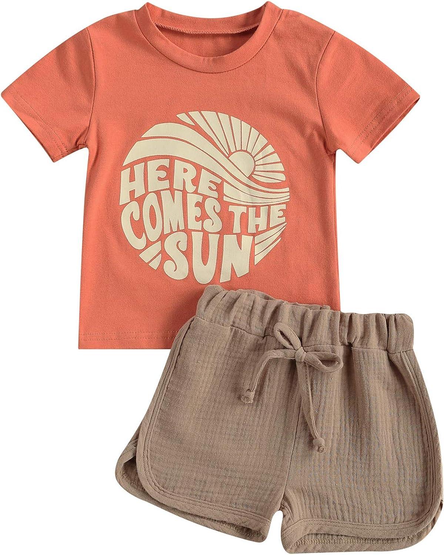 2Pcs Toddler Baby Boy Summer Clothes Letter Sun Print Short Sleeve T-Shirt Tops + Drawstring Shorts Set Outfit