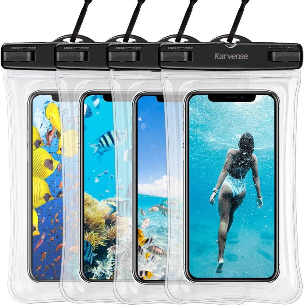 Waterproof Phone Bag Floating, Karvense Waterproof Cell Phone Lanyard Case/Pouch/Holder Floating for iPhone, Samsung Galaxy, LG, Moto, Pixel, All Phones up to 7.0'', Universal Dry Bag– 4 Pack