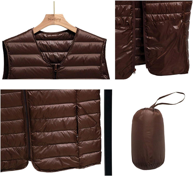 IGJMOD Couples V-Neck Ultra Light Down Vest Zipper Waistcoat Warm Liner Vest Navy S