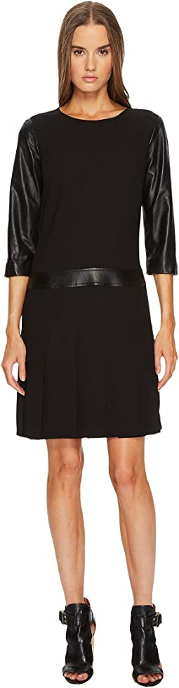 The Kooples - Dress with Leather Details and Pleated Skirt
