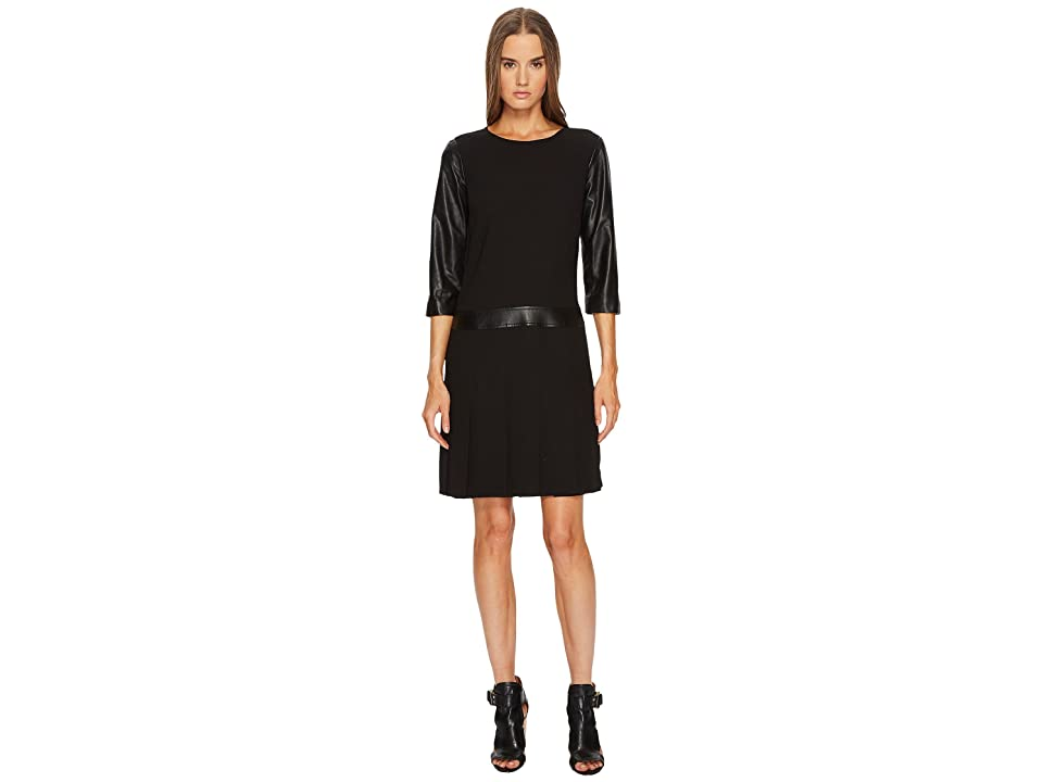 The Kooples Dress with Leather Details and Pleated Skirt (Black) Women