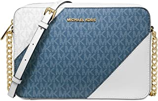 Michael Kors Large Tri-Color Logo and Leather Crossbody - Dark Chambray