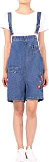 DenimFly Womens Floral Embroidered Loose Denim Overall Shorts Jumpsuit