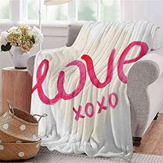 Luoiaax Xo Commercial Grade Printed Blanket Love Valentines Typography on a Heart Figure Kisses Letters Romantic Print Queen King W70 x L70 Inch Dark Coral and Cream