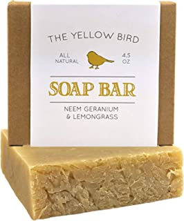 Neem Soap Bar. All Natural Face Wash & Acne Body Wash. 100% Natural & Organic. Artisan Neem Oil Soap with Therapeutic Lemo...