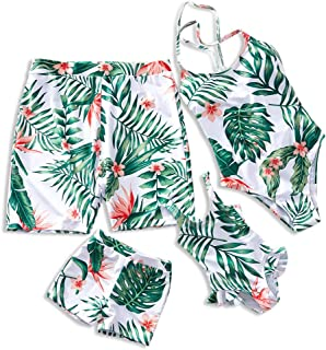 Mommy and Me Family Matching Swimsuit One Piece Beach Wear Summer Leaves Sporty Monokini Bathing Suit