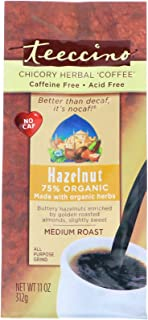 Teeccino Hazelnut Herbal Coffee Alternative,75% Organic Caffeine Free, Non Acidic,11 oz
