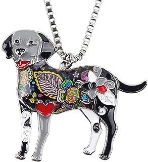 BONSNY Love Pets Enamel Zinc Alloy Labrador Retriever Necklace Dog Animal Pendant Women Jewelry