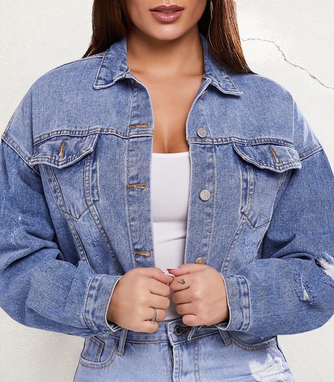 HUITAILANG Denim Jacket,Women Retro Bat Sleeve Short Oversized Jean Jacket,Fashion Coat