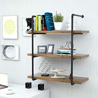 mecor Industrial Shelving Pipe Shelf 3-Tier, Wall Mount Iron Pipe Shelf, Wood and Metal Frame Bookcase, Floating Shelves for Home Office