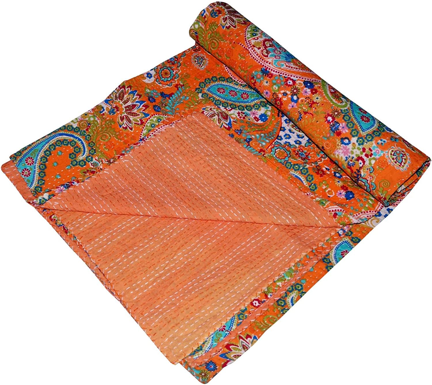 Navya Creations Indian Paisley Print Kantha Throw Blanket Quilt Queen Bohemian Cotton Bedspread Bed Cover