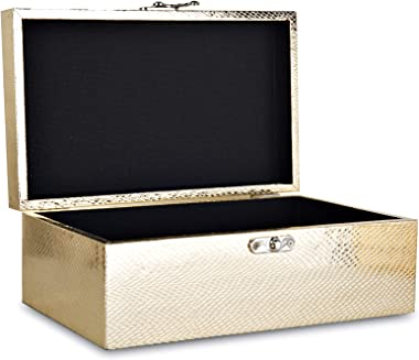 MODE HOME Gold Leather Kitchen Storage Boxes Fashion Jewelry Wooden Boxes Waterproof Set of 2