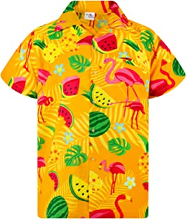 King Kameha Funky Hawaiian Shirt Men Shortsleeve Frontpocket Hawaiian-Print Melon Flamingo Fruits