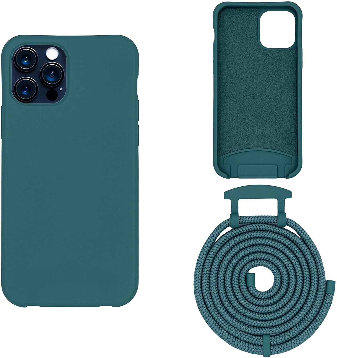 HoldingIT Crossbody Phone Case with Detachable Lanyard Compatible with iPhone 12, 12 Pro, 12 Pro Max, 2-in-1 Hands Free iPhone Cover with Drop Protection, Adjustable Rope