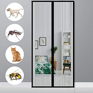 XIAOLEI Mosquitera Magnética 95x215cm(37x85inch) Cortina Protección Verano Cortina magnética contra Insectos Puerta Corredera Patio, Negro A