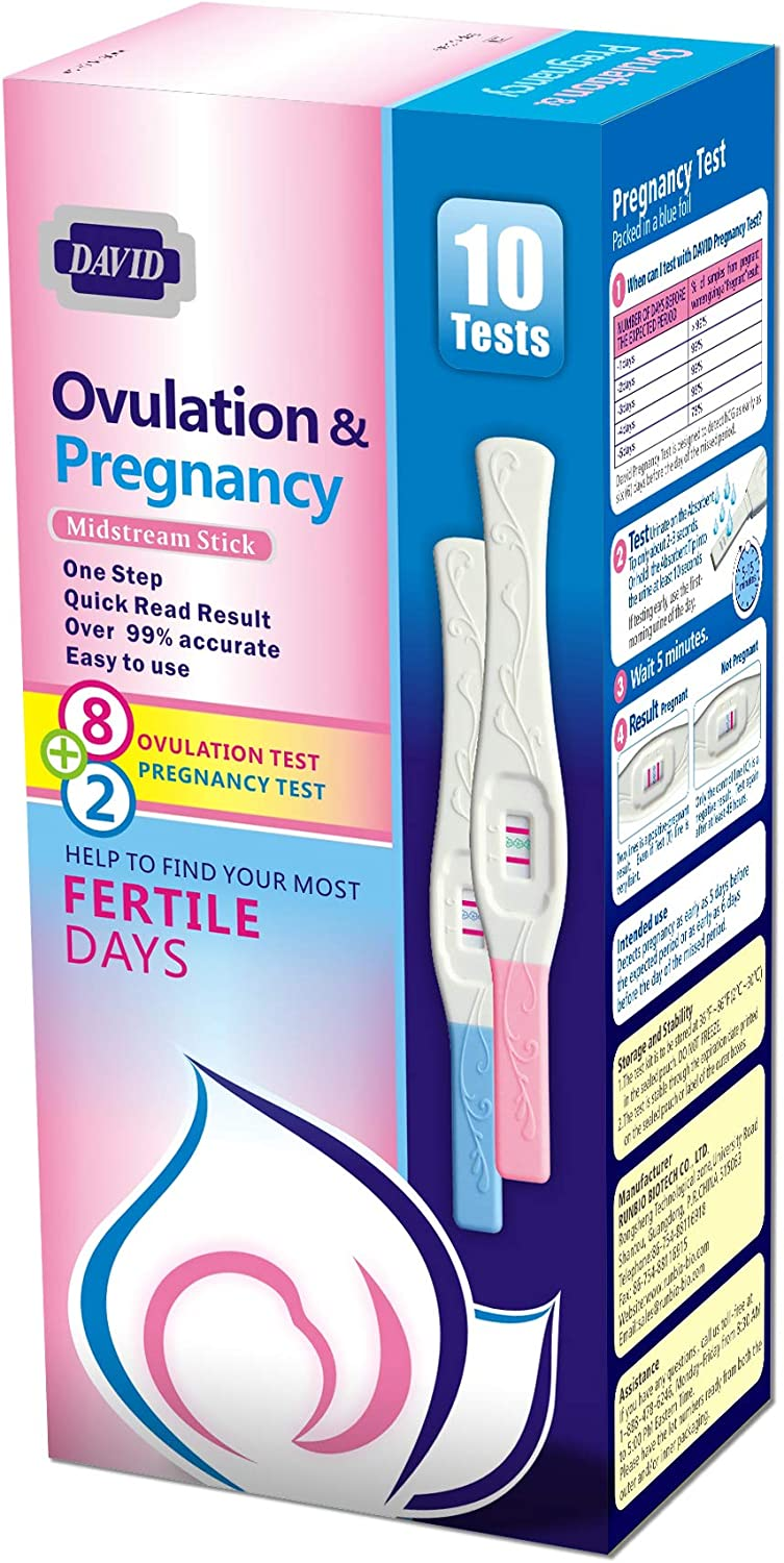 David 8 LH Ovulation Tests and 2 HCG Pregnancy Test Midstream Sticks Individually-Sealed Combo Predictor Kit