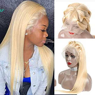 Glueless Human Hair Lace Front Wig with Baby Hair Bleach Blonde #613 360 Lace Frontal Wigs Free Part Virgin Brazilian Lace Wig Natural Hairline 150% Density Straight 18 Inch