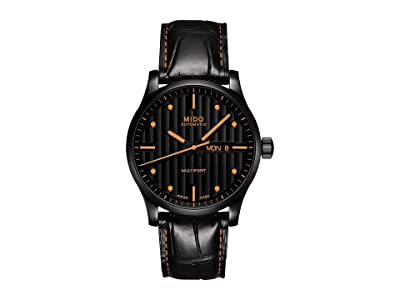 Mido Multifort Automatic M0054303605180 (Black/Leather Black/Orange) Watches