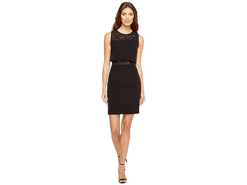 Aidan Mattox Crepe and Lace Cocktail Dress (Black) Women