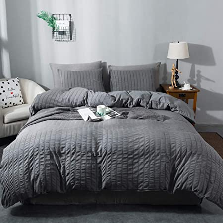AveLom Seersucker Duvet Cover Set Queen Size (90 x 90 inches), 3 Pieces (1 Duvet Cover + 2 Pillow Cases), Dark Gray Ultra Soft Washed Microfiber, Textured Duvet Cover with Zipper Closure, Corner Ties