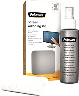 Fellowes Kit de nettoyage pour tablettes et écrans tactiles, comprend un spray et un chiffon, 120ml, 9930501