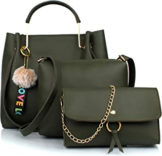 Mammon Women's Handbag With Sling Bag & Clutch (Set of 3) (3LR-bib-Green-Tie_Green)