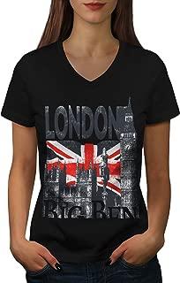 London Womens V-Neck T-Shirt, Big Tower Casual Design Tee