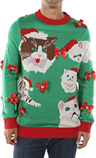 Men's Crazy Cat Man Ugly Christmas Sweater Funny Cat Holiday Sweater