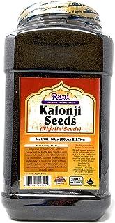 Rani Kalonji Seeds Whole (Black Seed, Nigella Sativa, Black Cumin) Spice 80oz (5lbs) PET Jar, All Natural ~ Gluten Free Ingredients   NON-GMO   Vegan   Indian Origin