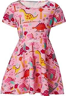 RAISEVERN Toddler Girl's Dress 3D Print Short Sleeve Swing Skirt Casual Kids Party Dress