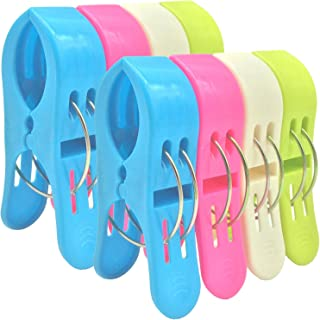 Bingolar 8 Pack Durable Large Beach Towel Clips for Beach Chairs Or Lounge Chair - Keep Your Towel from Blowing Away,Fashion Bright Color Jumbo Windbreaker Clip,Big Clip.