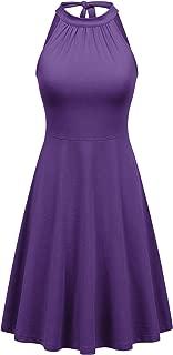 FENSACE Women's Halter Neck A-Line Casual Summer Dress
