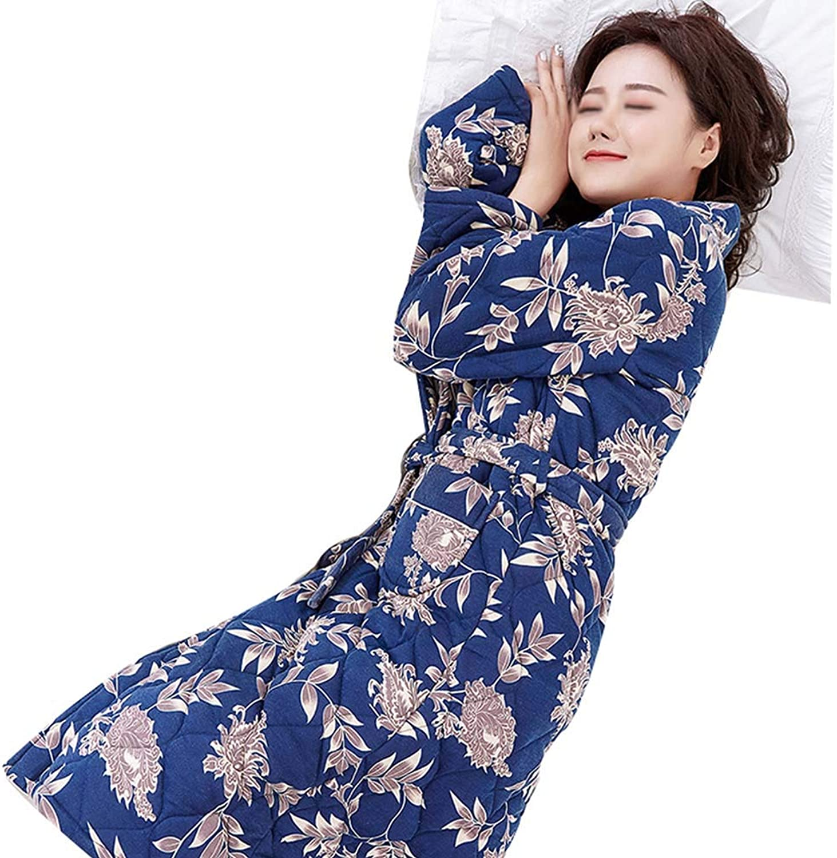 HONGNA Ladies Pajamas Winter ThreeLayer Thick Warm Cotton Jacket Plus Long Robe Bathrobe Cute Home Service (color   bluee, Size   M)