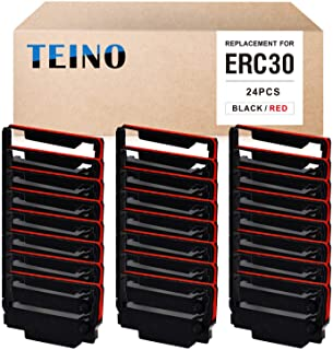 TEINO 24 Pack ERC30 ERC-30 ERC 30 34 38 B/R Compatible Ribbon Cartridge for use in ERC38 NK506 (Black Red)