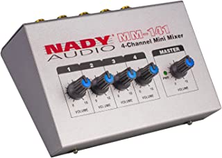 """Nady MM-141 4-Channel mono unbalanced Mini Mixer – ¼"""" Inputs & output – Portable - Battery powered or use optional AC adapter …"""