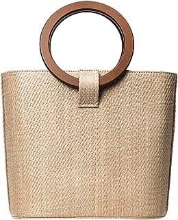 Funihut Bolsa de Playa Bolsa de Pajita Mujer Bolsa Redondo Pajita/ Straw Bags /Bolso Bandolera Bolso capazo Mimbre bellotas Playa Vacaciones Bolsa para Mujer