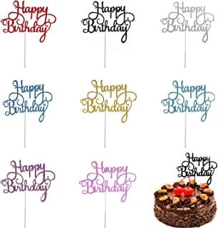 "Trounistro Happy Birthday کیک تولد ، 40 قطعه کیک Toppers Glitter Cardstock Topper حروف ""تولدت مبارک"" ، برای دوستان و خانواده خود ، تزئینات مهمانی - هشت رنگ"