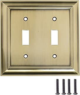 AmazonBasics Double Toggle Light Switch Wall Plate, Antique Brass, Set of 2