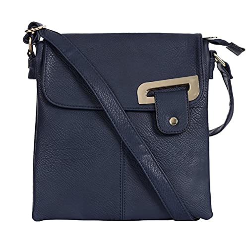 7f793c7f1125 Sale New Womens Medium Multi Pocket Compartment Trendy Messenger Cross Body  Shoulder Bag (Navy Gold